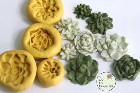 Silicone Mold for succulents, sized for cake pops and cupcakes.