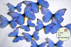 Blue edible butterflies, 12 wafer paper edible butterflies for wedding cake toppers.