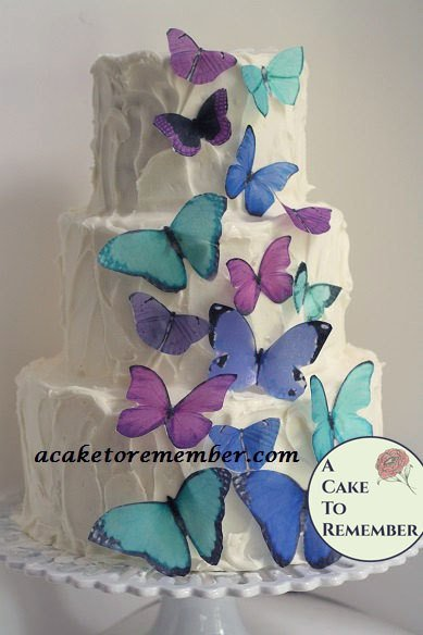15 wafer paper butterflies for cake decorating and cupcake decorating. Edible butterflies.