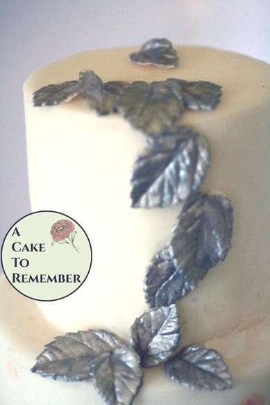 12 Gumpaste silver leaves for cake decorating, silver sugar leaves