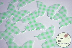 24 green gingham edible butterflies for cake decorating and cupcake toppers.