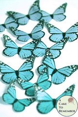 Edible butterflies, 12 teal edible wafer paper monarch butterflies for cake decorating, cupcake decorating