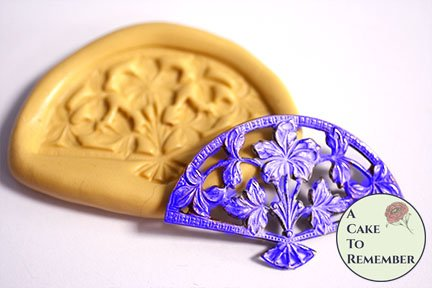Filigree fan mold for cake decorating, gumpaste or polymer clay. M5157