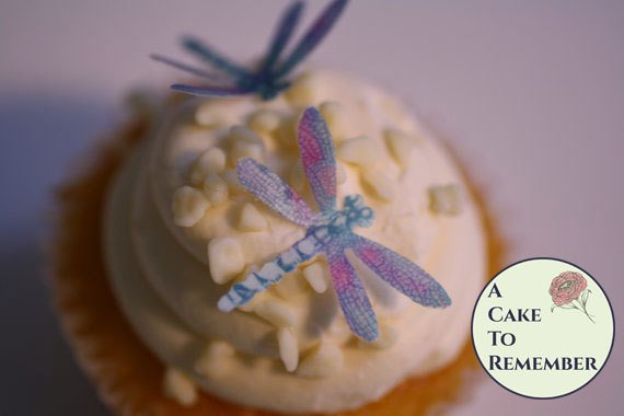 "24 detailed edible dragonflies, 1 1/4"" dragonflies for cake decorating, cupcakes, cookie decorating, cake toppers. Wafer paper dragonflies"