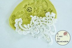 Large Alencon lace silicone lace mold for cake decorating. Fondant mold.