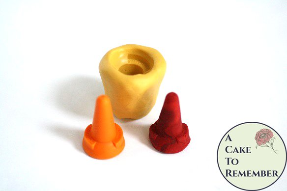 Safety cone silicone mold for fondant, gumpaste, polymer clay, or resin mold. Traffic cone mold for cake or cupcake toppers M5107
