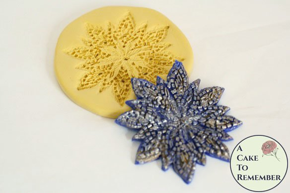 Seed beaded flower fondant mold for wedding cakes M5089
