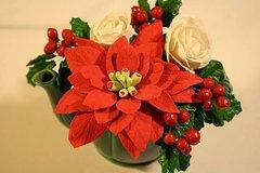 Gumpaste Poinsettia For Cake Decorating, Sugar Poinsettias