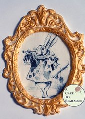 "Framed classic Alice in Wonderland image for cake decorating. 5.5"" tall gumpaste frame. White Rabbit, Alice in Wonderland cake decorating"