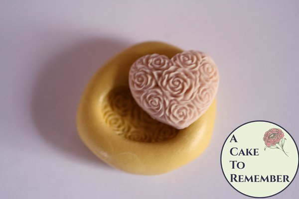 "3/4"" floral heart silicone mold for cake pops or cupcake decorating M5146"