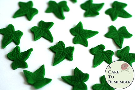24 small ivy edible leaves for mini cupcake toppers and fairy cake decorations.