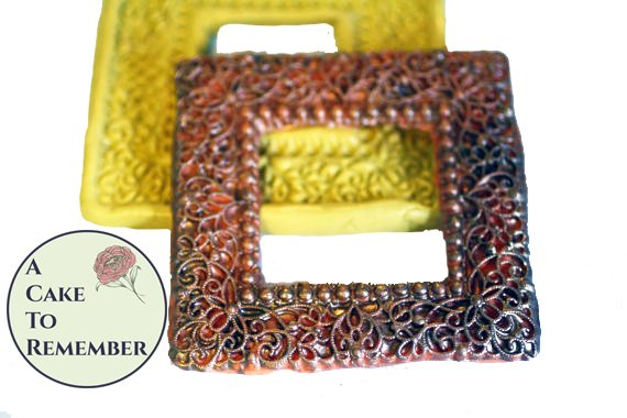 Filigree square frame mold for cake decorating, polymer clay. Cake supplies and cake silicone molds for DIY wedding cakes. Vintage pull.