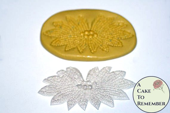 Silicone beaded medallion Mold for cake decorating cupcake decorating, chocolate, polymer clay, or resin. M063