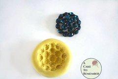 "Jeweled medallion silicone mold for cake decorating, 1"" across, rhinestone mold M1101"