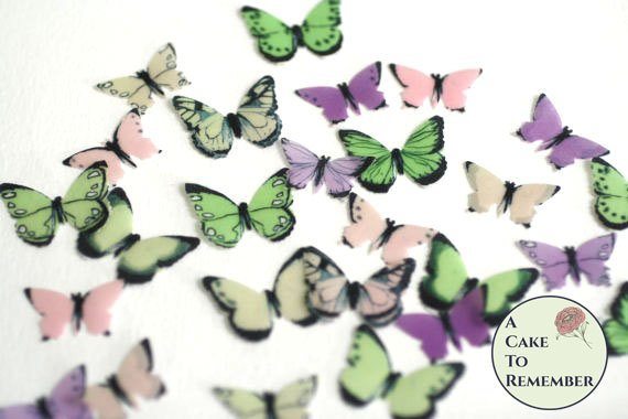 48 small pink, green and purple edible butterflies for cake decorating, cupcake decorating, cake pop. Wafer paper butterflies, cake toppers.