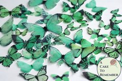 50 green edible butterflies for butterfly cakes and cupcakes