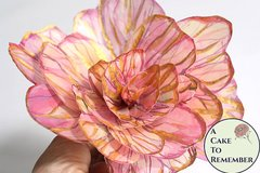 1 large modern painted wafer paper flower with gold details for cake toppers