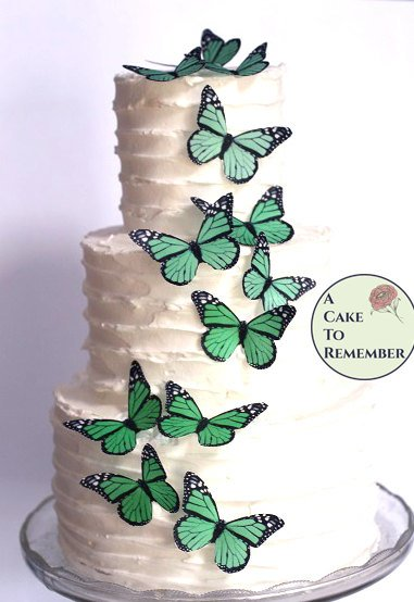 12 green edible butterflies, monarchs in greenery colors in a range of sizes. Rustic wedding cake ideas, woodland wedding cake decorations