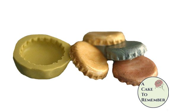 Bottle cap silicone Mold for fondant or gumpaste, food-safe -- cake or cupcake decorating or polymer clay