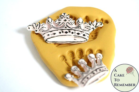 Ornate crowns silicone mold for cake pops and cupcake decorating. Fondant or gumpaste mold. Crown mold for polymer clay or resin M5120