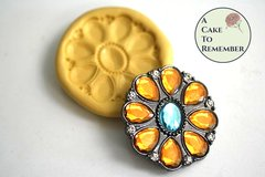 Oval jewel brooch silicone mold for cake decorating, cupcake decorating, chocolate, polymer clay, resin, silicone mould, M5016