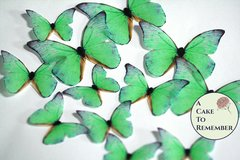Green edible butterflies, 12 wafer paper edible butterflies for wedding cake toppers.