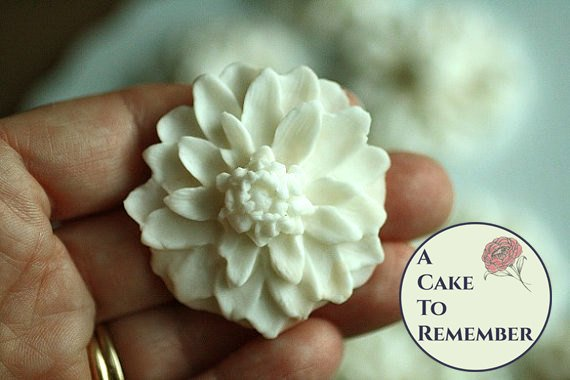 Fondant edible flowers for cake decorating or cupcake toppers, 12 flowers