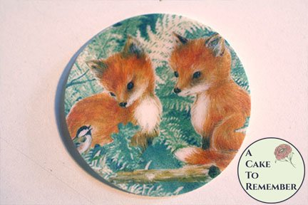 """12 2"""" round baby fox wafer paper images for cookie decorating"""