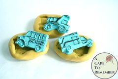 Silicone truck molds, ambulance, school bus and dump truck. Molds for birthday cakes, silicone car molds M5096