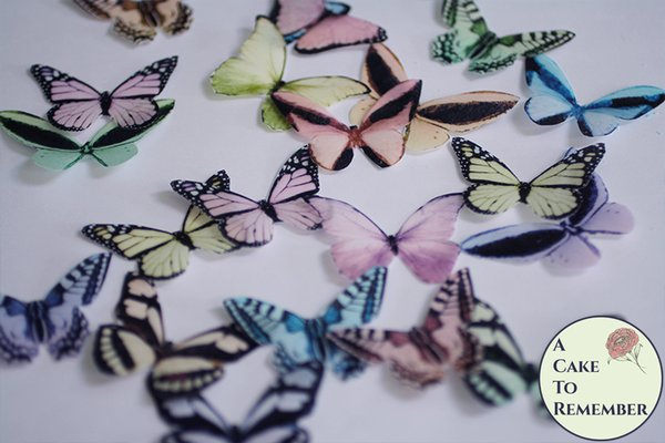 "20 2"" wide pastel wafer paper butterflies for a rainbow butterfly cake"