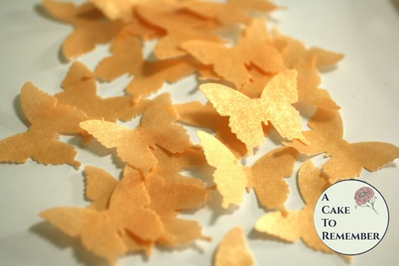 24 gold luster wafer paper edible cake decorating butterflies