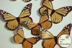 Edible butterflies, 12 orange edible wafer paper monarch butterflies for cake decorating, cupcake decorating