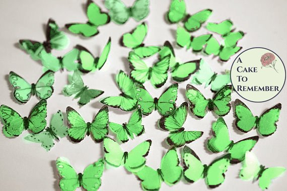 48 small green edible butterflies for mini cupcake toppers and macarons