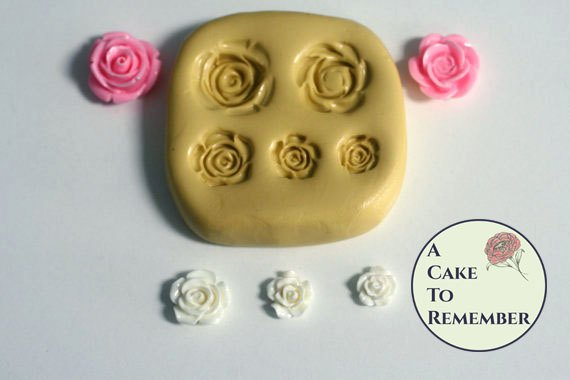 Small roses mold for gumpaste and cake decorating. Silicone flower mold for cakes or cupcakes. M5019