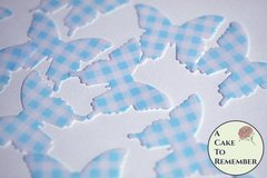 24 light blue gingham edible butterflies for cake decorating.