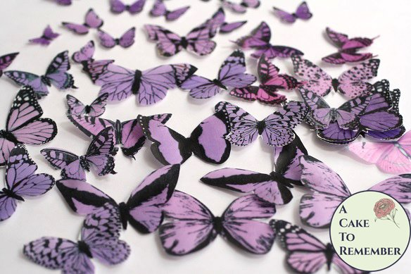 50 purple and lavender edible butterflies for butterfly cakes and cupcakes