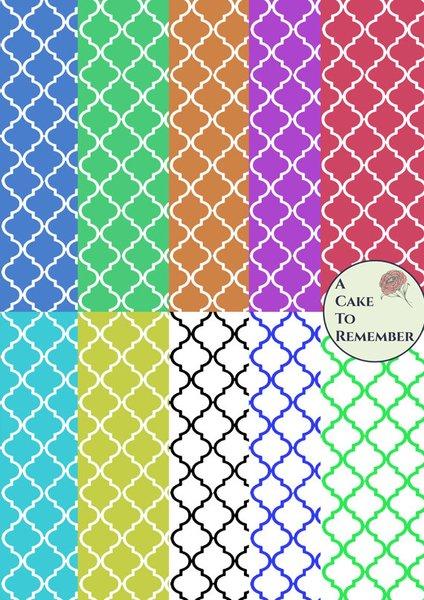 Digital download--Printable quatrefoil wafer paper file for cake decorating or cupcake decorating