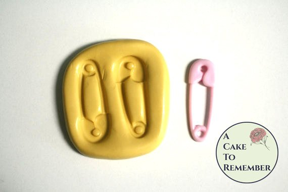 Safety pin mold for gumpaste and cake decorating or cupcake decorating. baby shower cakes M5007