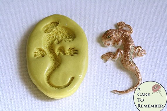 "Jeweled lizard mold, 2"" long, for cake decorating or polymer clay M1083"
