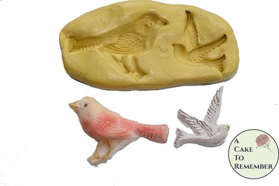 Birds mold for cake decorating or polymer clay