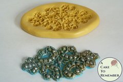 Silicone mold for rhinestone oval beaded medallion, cake decorating mold, beaded lace mold M5086