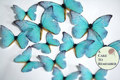 teal edible butterflies, 12 wafer paper edible butterflies for wedding cake toppers.