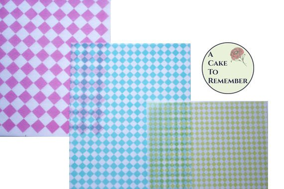 """3 full sheets diamonds printed wafer paper (choose one color) for cake or cupcake decorating. 8"""" x 10"""" edible paper prints"""