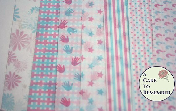 Three sheets printed wafer paper for gender reveal party cakes or baby shower cakes. Wafer paper for cake decorating, colored wafer paper.