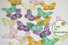 24 lacy edible butterflies for cake decorating, cookies, cupcakes, cake pops. Wafer paper butterflies, wedding cake toppers.
