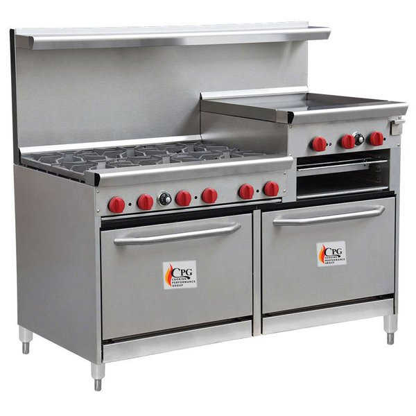 Natural Gas Cooking Performance Group 60-CPGV-6B-24RG-S26 6 Burner ...