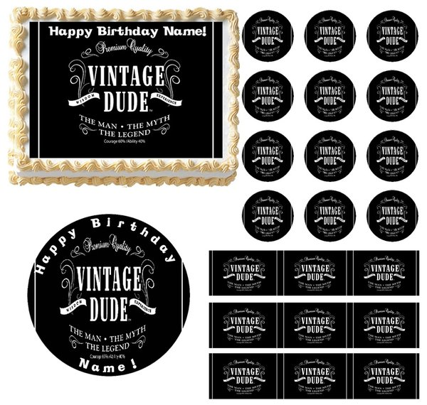 Vintage Dude No Age Edible Cake Topper Image Frosting Sheet Edible Party Images