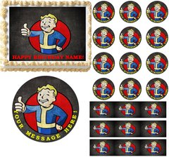 FALLOUT 4 VAULT BOY Gaming Edible Cake Topper Image Frosting Sheet