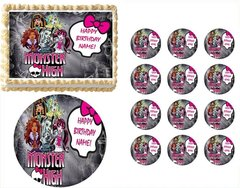 MONSTER HIGH DOLLS Skull and Bow Edible Cake Topper Image Frosting Sheet