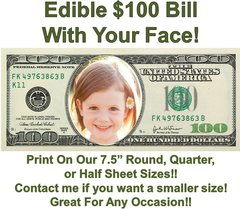 Money 100 Dollar Bill Face Edible Cake Topper Image Face Money Edible Cake Money